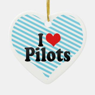 Amo a pilotos adorno de cerámica en forma de corazón