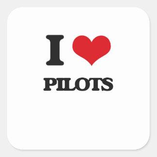 Amo a pilotos calcomanías cuadradas