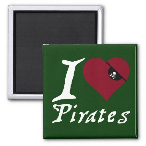 Amo a piratas (del corazón) imán cuadrado