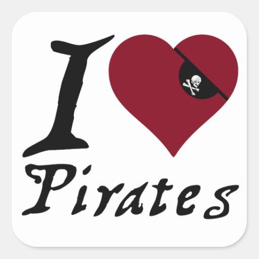 Amo a piratas (del corazón) pegatina cuadrada