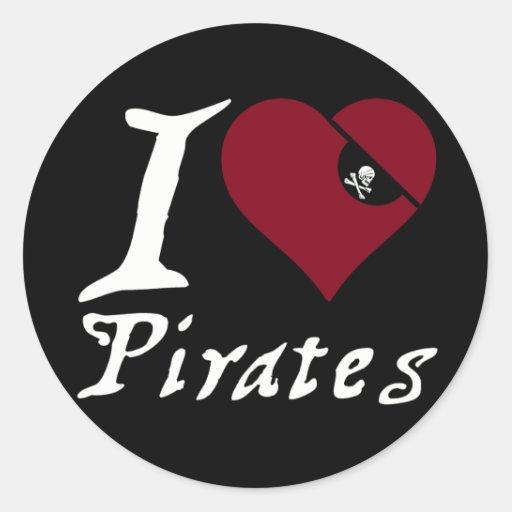 Amo a piratas (del corazón) pegatina redonda