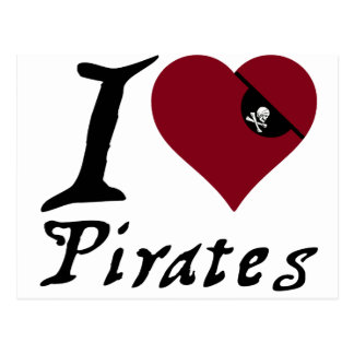 Amo a piratas (del corazón) postal