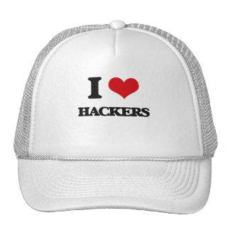 Amo a piratas informáticos gorras de camionero