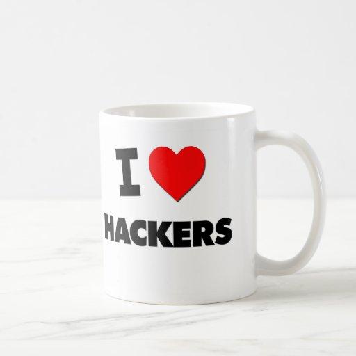 Amo a piratas informáticos tazas