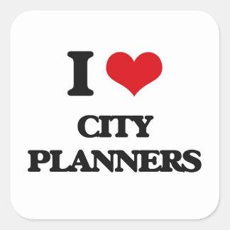 Amo a planificadores de la ciudad pegatina cuadrada
