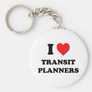 Amo a planificadores del tránsito llavero personalizado