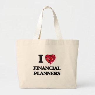 Amo a planificadores financieros bolsa tela grande