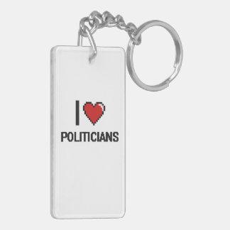 Amo a políticos llavero rectangular acrílico a doble cara