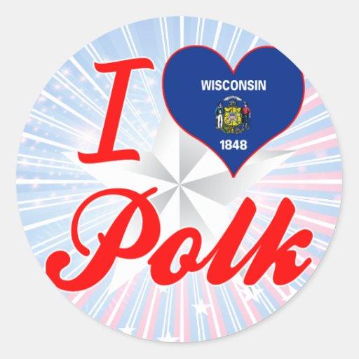 Amo a Polk, Wisconsin Pegatinas
