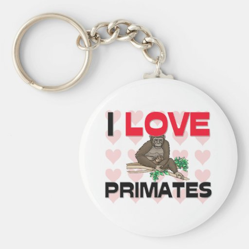 Amo a primates llavero redondo tipo pin