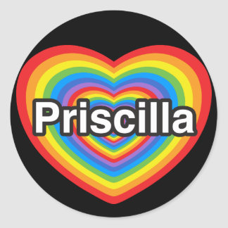 Amo a Priscilla. Te amo Priscilla. Corazón Pegatina Redonda