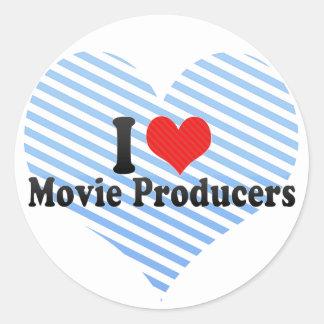 Amo a productores de película pegatina redonda