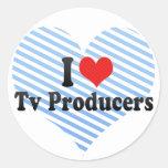 Amo a productores de TV Etiquetas Redondas