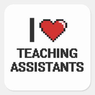 Amo a profesores ayudante pegatina cuadrada