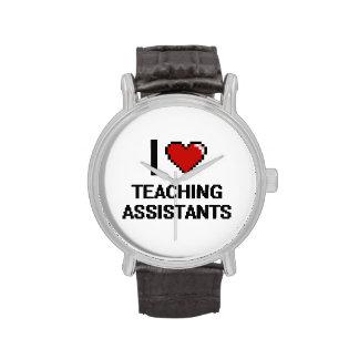 Amo a profesores ayudante relojes de pulsera