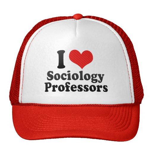 Amo a profesores de la sociología gorros bordados
