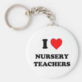 Amo a profesores del cuarto de niños llavero personalizado