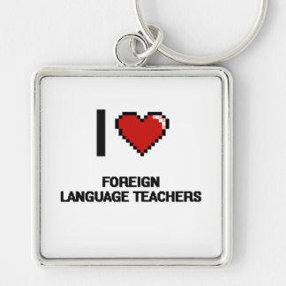 Amo a profesores del idioma extranjero llavero cuadrado plateado