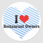 Amo a propietarios de restaurante pegatinas redondas