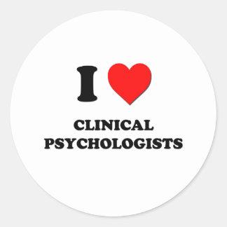 Amo a psicólogos clínicos pegatina redonda