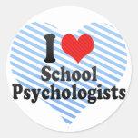Amo a psicólogos de la escuela etiqueta redonda