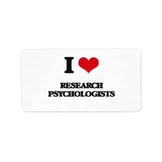 Amo a psicólogos de la investigación etiqueta de dirección