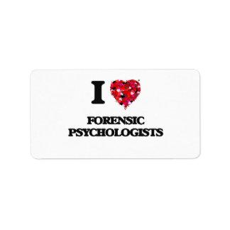 Amo a psicólogos forenses etiqueta de dirección