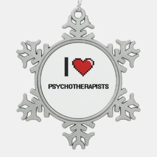 Amo a psicoterapeutas adorno de peltre en forma de copo de nieve