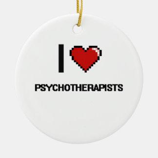 Amo a psicoterapeutas adorno redondo de cerámica