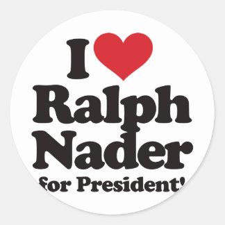Amo a Ralph Nader para el presidente Pegatina Redonda
