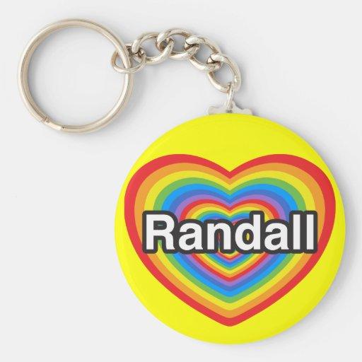 Amo a Randall. Te amo Randall. Corazón Llavero Redondo Tipo Pin