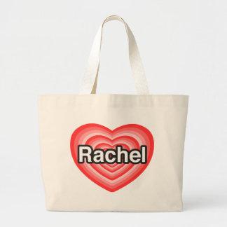 Amo a Raquel. Te amo Raquel. Corazón Bolsa Lienzo