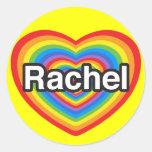 Amo a Raquel. Te amo Raquel. Corazón Etiqueta Redonda
