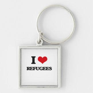 Amo a refugiados llavero cuadrado plateado