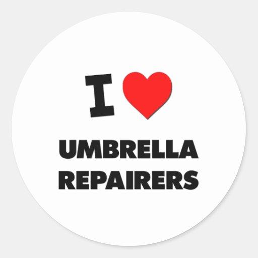 Amo a reparadores del paraguas pegatina redonda