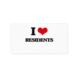 Amo a residentes etiquetas de dirección