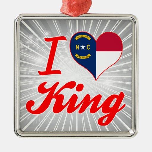 Amo a rey, Carolina del Norte Ornamento De Navidad