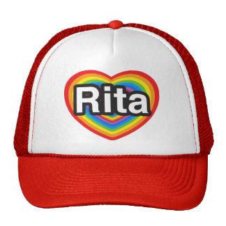 Amo a Rita. Te amo Rita. Corazón Gorros Bordados