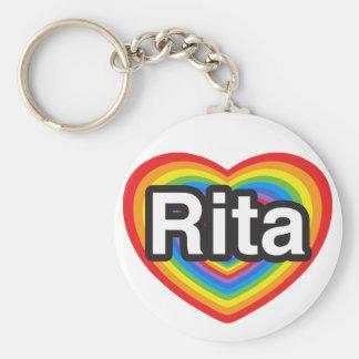 Amo a Rita. Te amo Rita. Corazón Llavero Personalizado