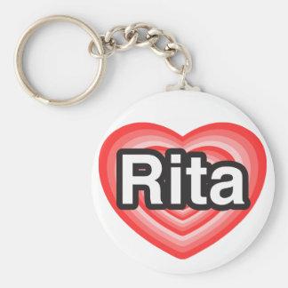 Amo a Rita. Te amo Rita. Corazón Llaveros