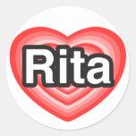 Amo a Rita. Te amo Rita. Corazón Pegatina Redonda