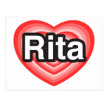 Amo a Rita. Te amo Rita. Corazón Tarjetas Postales