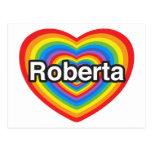Amo a Roberta. Te amo Roberta. Corazón Postal