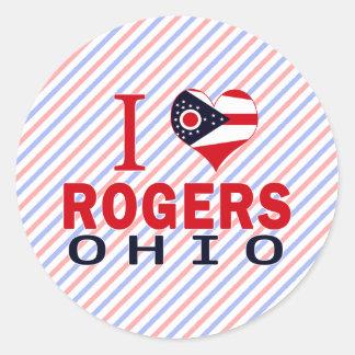 Amo a Rogers, Ohio Etiquetas Redondas
