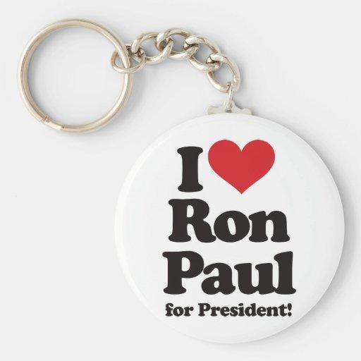 Amo a Ron Paul para el presidente Llaveros