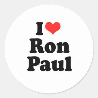 Amo a Ron Paul Pegatina Redonda