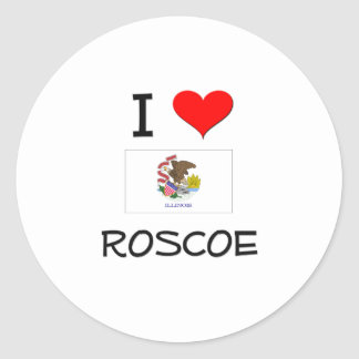 Amo a ROSCOE Illinois Pegatina Redonda