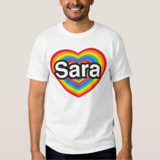 Amo a Sara. Te amo Sara. Corazón Remera