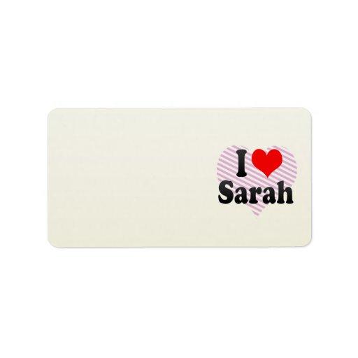 Amo a Sarah Etiqueta De Dirección