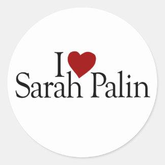 Amo a Sarah Palin (McCain Palin 2008) Pegatina Redonda